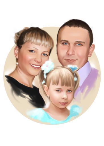 Семейный портрет по фото на холсте в Ярославлье — правильный подарок!
