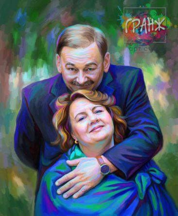 Портрет по фото на холсте — оригинальный подарок на семейный праздник Ярославль